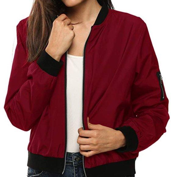 Zeagoo Womens Bomber Jacket Casual Coat Zip Up Outerwear Windbreaker